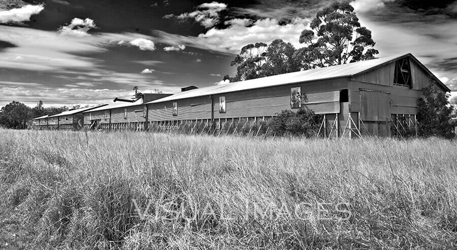 Black & white photo of large old shed