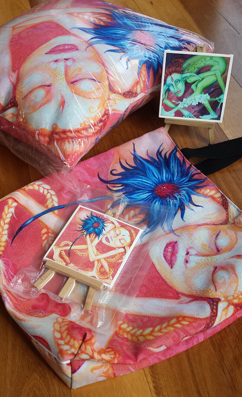 Designer tote bags, pillows and prints